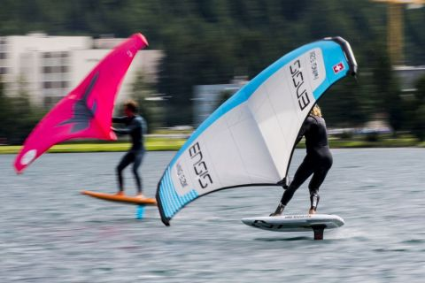 Vanora Engadinwind by Dakine 2020.   Wing Foil Exhibition.  Wing Foil exhibition event by the newly founded GWA Global Wingsports Association. The contest is runned in the disciplines racing and freestyle, on Sunday August 16 on Lake St. Moritz and on Monday, August 17 on Lake Sivaplana. 16 August, 2020  © Sailing Energy / Engadinwind 2020