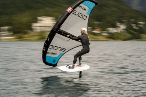 Vanora Engadinwind by Dakine 2020.   Wing Foil Exhibition.  Wing Foil exhibition event by the newly founded GWA Global Wingsports Association. The contest is runned in the disciplines racing and freestyle, on Sunday August 16 on Lake St. Moritz and on Monday, August 17 on Lake Sivaplana. {iptcday0} {iptcmonthname}, {iptcyear4} ©Sailing Energy / Engadinwind 2020