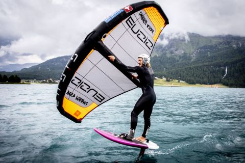 Vanora Engadinwind by Dakine 2020.   Wing Foil Exhibition.  Wing Foil exhibition event by the newly founded GWA Global Wingsports Association. The contest is runned in the disciplines racing and freestyle, on Sunday August 16 on Lake St. Moritz and on Monday, August 17 on Lake Sivaplana. {iptcday0} {iptcmonthname}, {iptcyear4}  © Sailing Energy / Engadinwind 2020